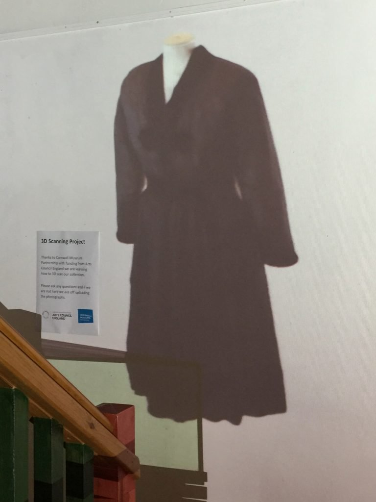 Projected 3D model of a black dress at the Museum of Cornish Life, Helston.