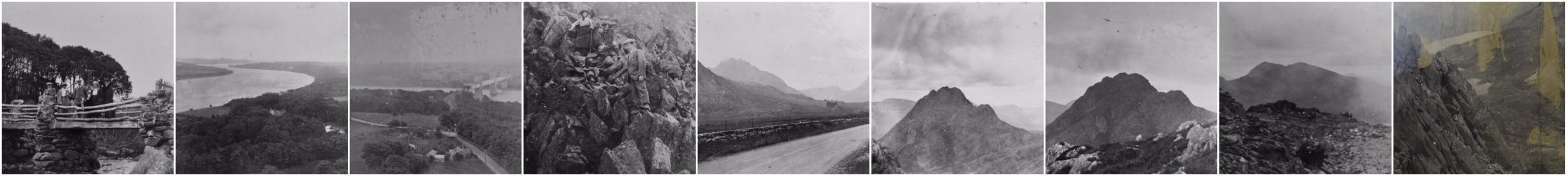 A series of thumbnails of black and white landscape photos digitised by the Curatorial Research Centre