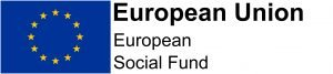 European Union logo, blue flag with a circle of 5-pointed yellow stars. On the right the words European Union. European Social Fund.