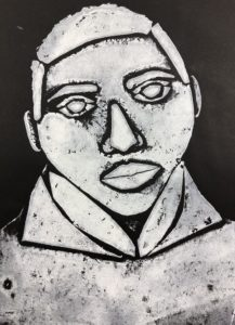 Collagraph screen print in black and white of a person's face