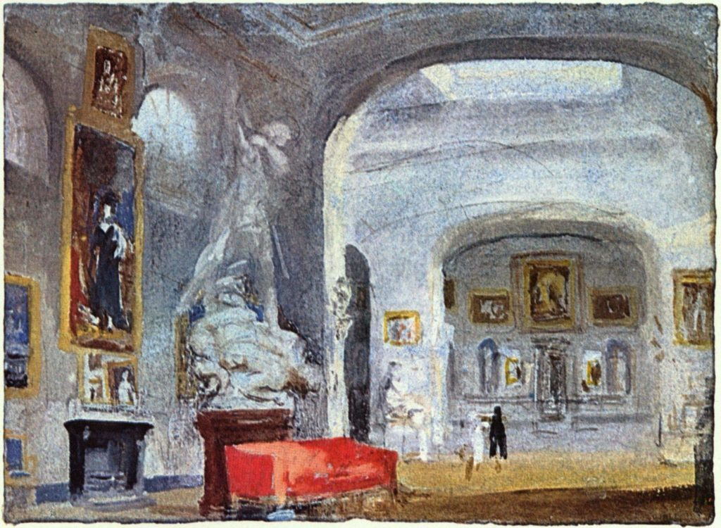 Watercolour painting of a grey-white gallery with hazy sculptures and paintings